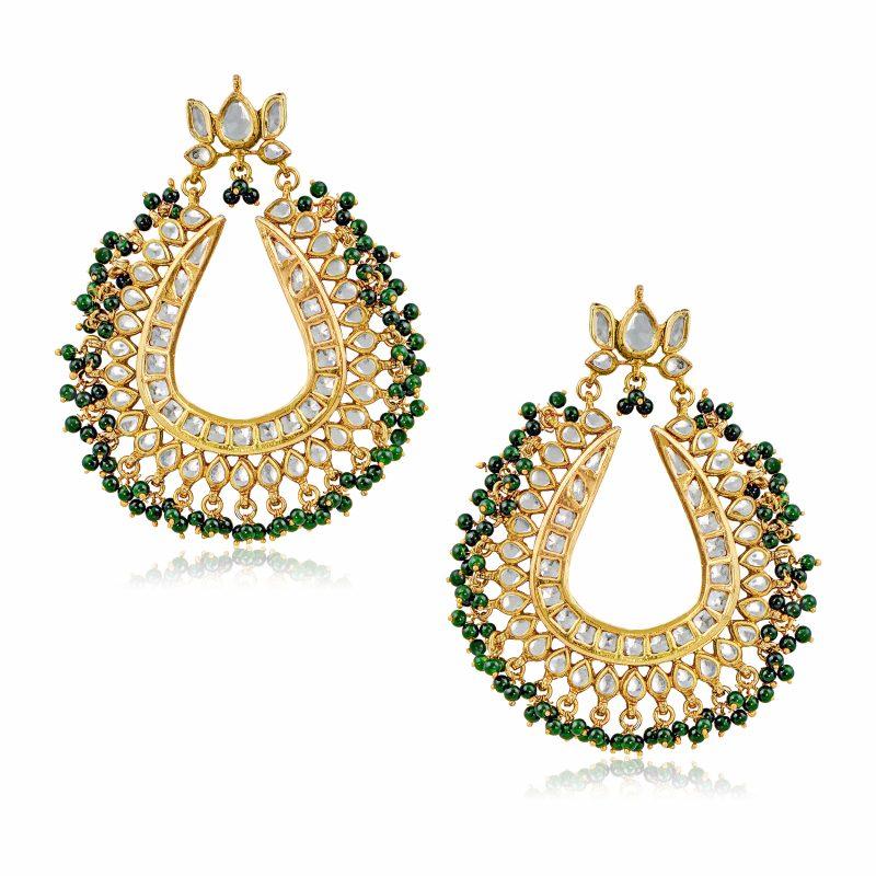 Lotus Kundan Green Earrings 7th Avenue Jewellery